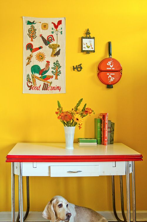 "Sneak Peek: Best of Yellow. ""Chicagoan Liz Cook painted her kitchen a bright sunflower yellow in order to make mornings a little cheerier. Her hound dog Henry just wants her to hurry up with his breakfast!"" #sneakpeek"