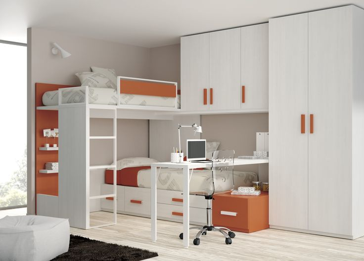 Loft Bed Ideas Small Bedrooms Part - 39: Wondrous White And Orange Themes Kids Bedroom Ideas With Built In Cabinets  And Corner Bunk Beds Added Laptop Desk As Modern Small Bedroom Decors