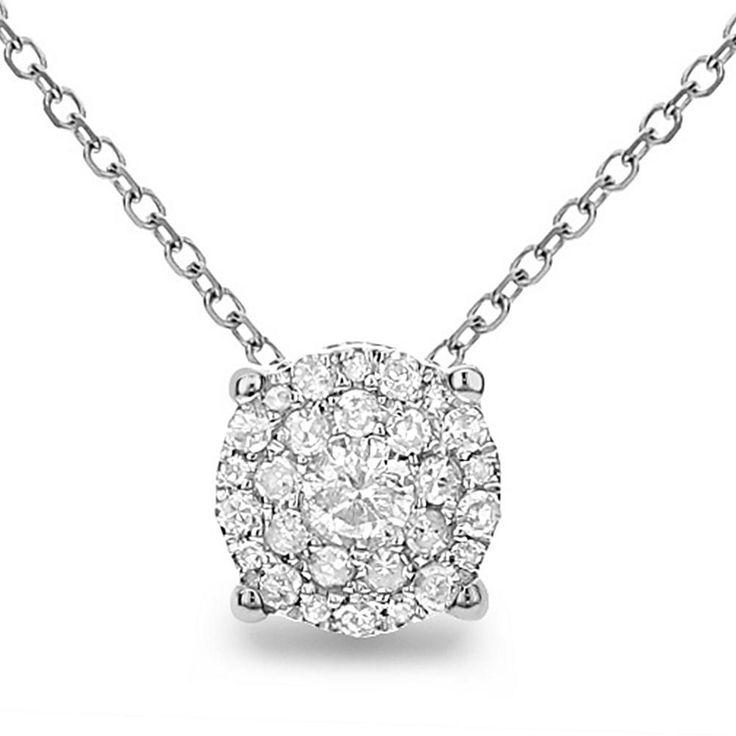 "Diamond Couture 14K Gold .20ctw Diamond Round Design Slide Pendant with 18"" Chain - Metallic"