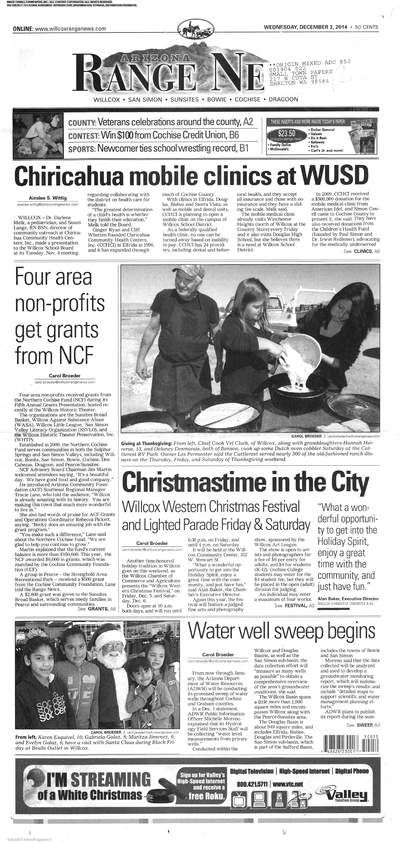 Arizona Range News (Willcox, Arizona) newspaper archive available at http://azr.stparchive.com/