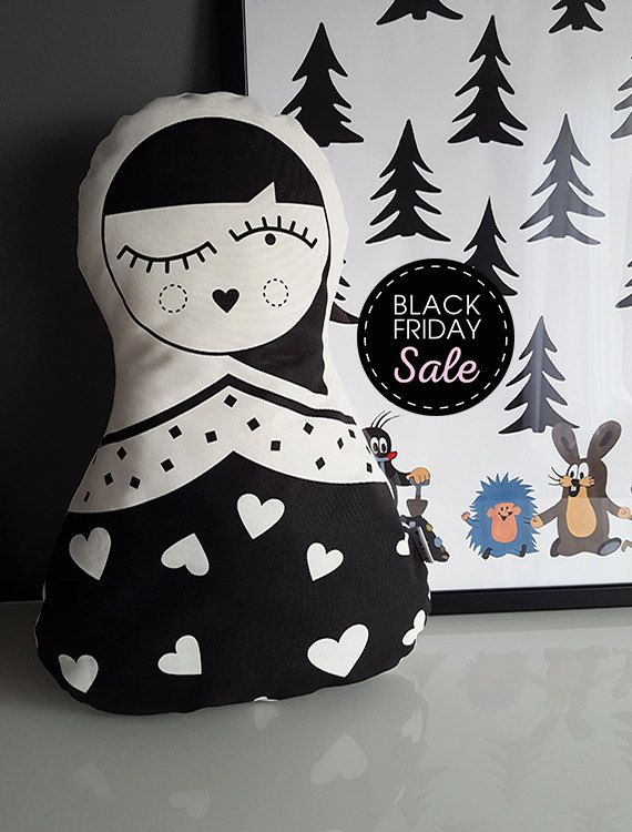 Black Friday sale 20% off Matryoshka Pillow, Modern Russian doll,Custom Pillow Geometric Black and White Pattern, queen of hearts, Kids Room by KAKUMAstore on Etsy