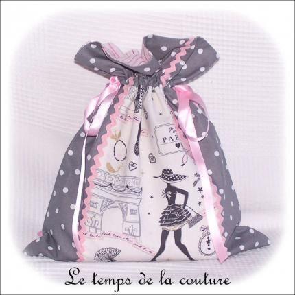 sac pochon linge lingerie blanc rose gris parisienne dijon gien chatillon loire création décoration ameublement fait main le tem