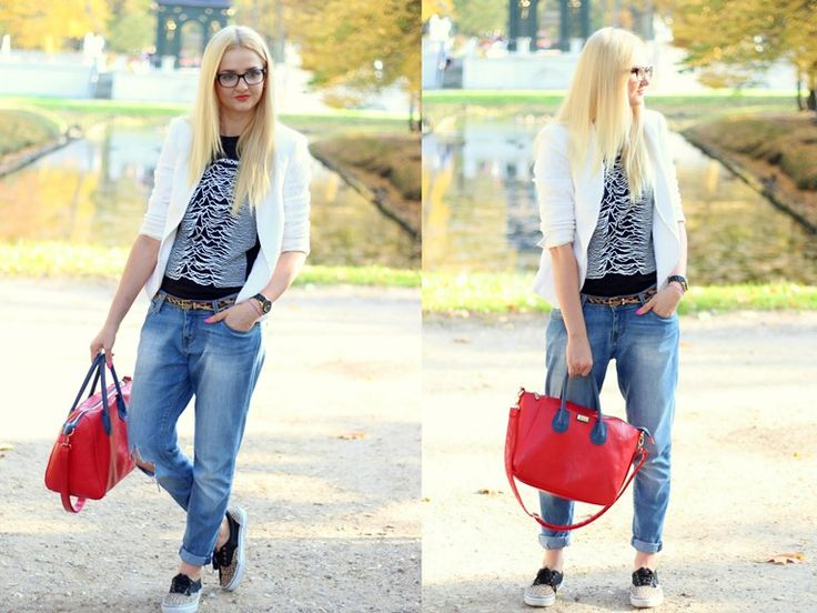 Made My Day, nerd, zara, marynarka, jacket, boyfriends, red bag,