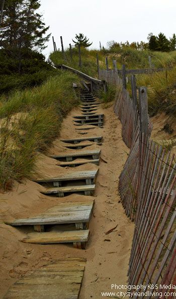 Steps leading up to Old Baldy, at least 4000 year old sand dunes / Door County, WI, USA