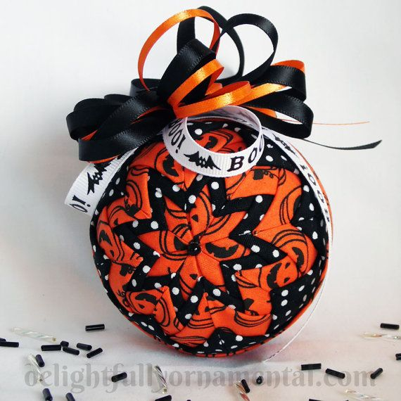 halloween quilted fabric christmas ornament decoration orange black pumpkins - Halloween Christmas Ornaments
