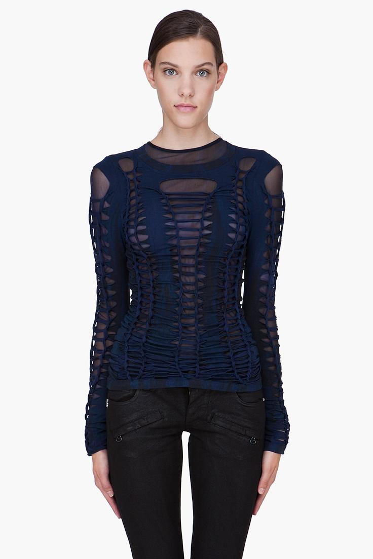 VERSUS navy irreular open weave Jersey T-Shirt