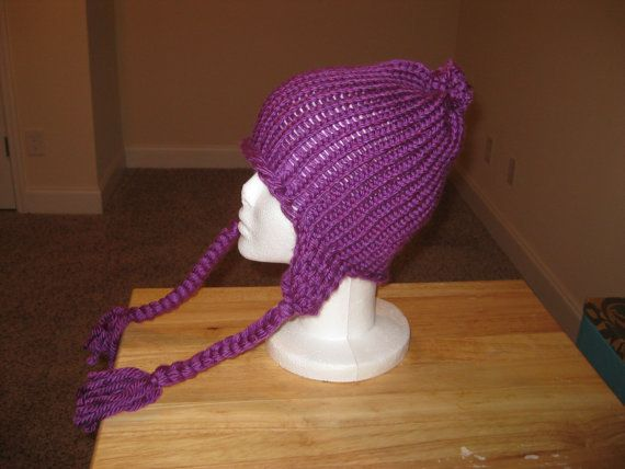 I made this its for sell on etsy with others I have made!!! Check it out!!! Adult Size Handmade Knitted Hat with Ear by AshsWarmWeatherWear, $14.00