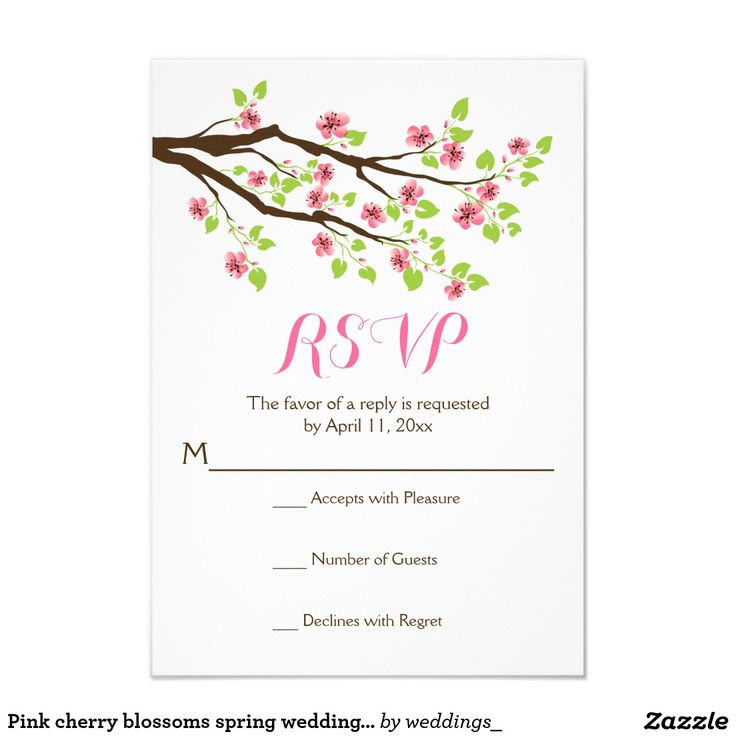 Pink cherry blossoms spring wedding RSVP Card Branch with pink cherry blossoms spring wedding RSVP response/reply card featuring a brown branch of a cherry tree with gorgeous pink sakura tree flowers and green leaves. This modern elegant and stylish floral wedding template design is fully customizable and is part of a wedding set perfect for your spring or summer garden wedding.