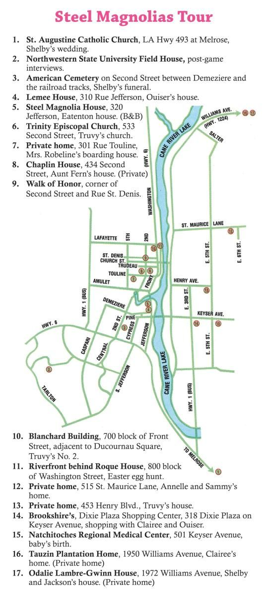 """Natchitoches, Louisiana is home to the 1989 hit movie """"Steel Magnolias"""". See map below to tour the filming sites. Download the map."""