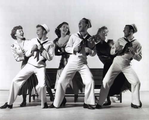 Betty Garrett, Frank Sinatra, Ann Miller, Jules Munshin, Vera Ellen, and Gene Kelly // On The Town
