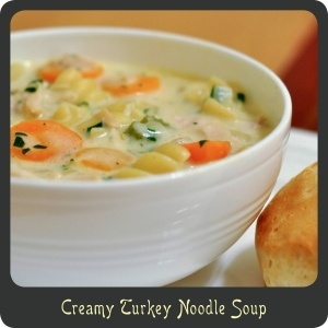 Creamy Turkey Noodle Soup—Perfect for a cold winter day!