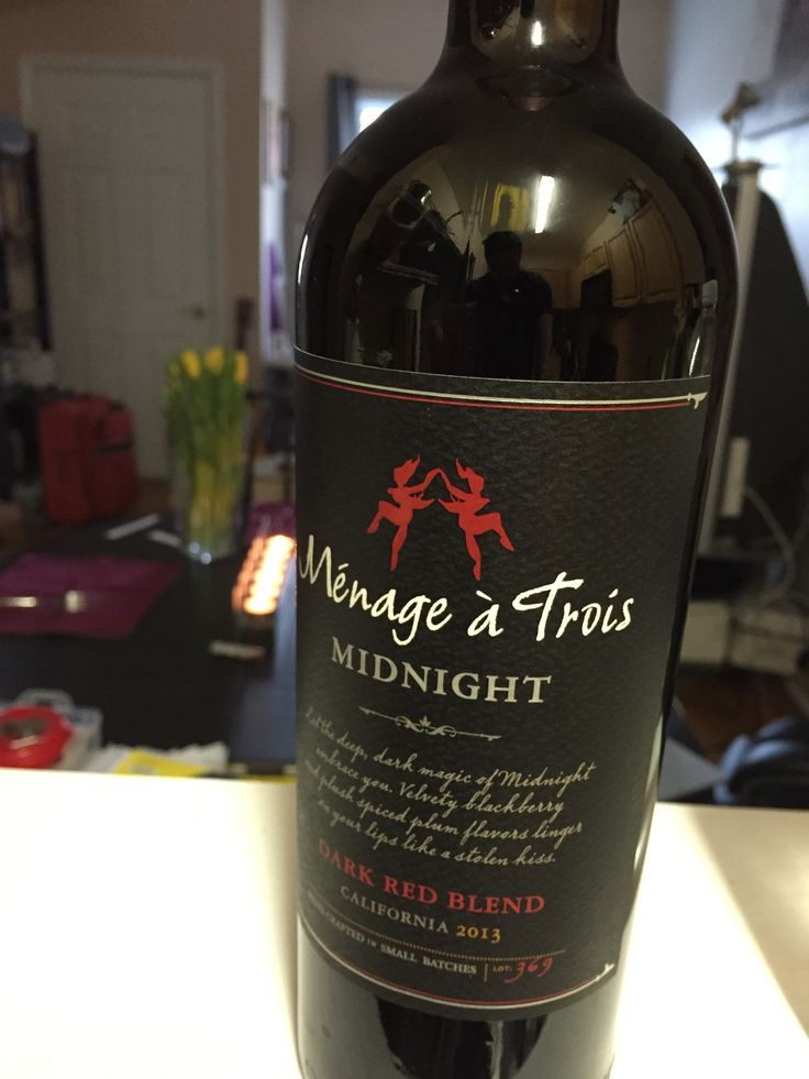 Menage a Trois MIDNIGHT $11.99 (on sale $14.99( 3 out of 5 stars. Dark blackberry colors with a strong aroma and a smooth finish. Lots of flavor and is something different and tasty for Menage a Trois lovers. Salud.