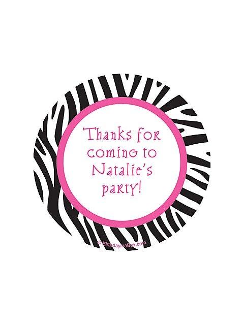Zebra Party Personalized Stickers