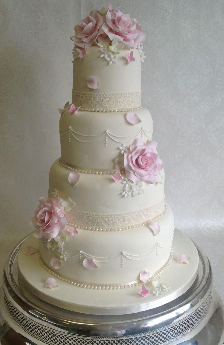 Tier Wedding Cakes Pastel Tumbling Flowers