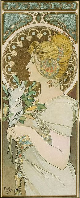"ALPHONSE MUCHA, ""LA PLUME"" 