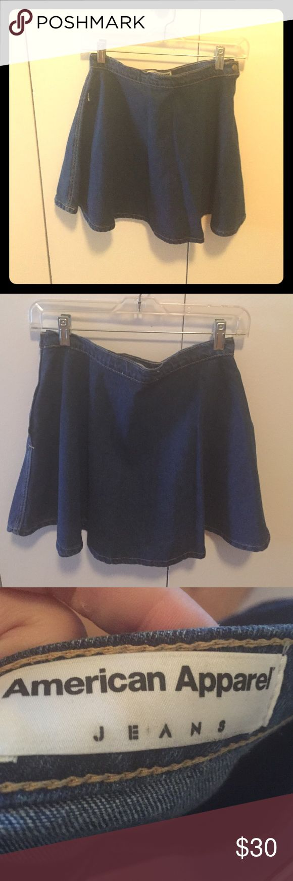 American Apparel high waisted jean skirt American Apparel high waisted jean skirt with flair at bottom. Side zipper and snap. Adorable for summer! American Apparel Skirts