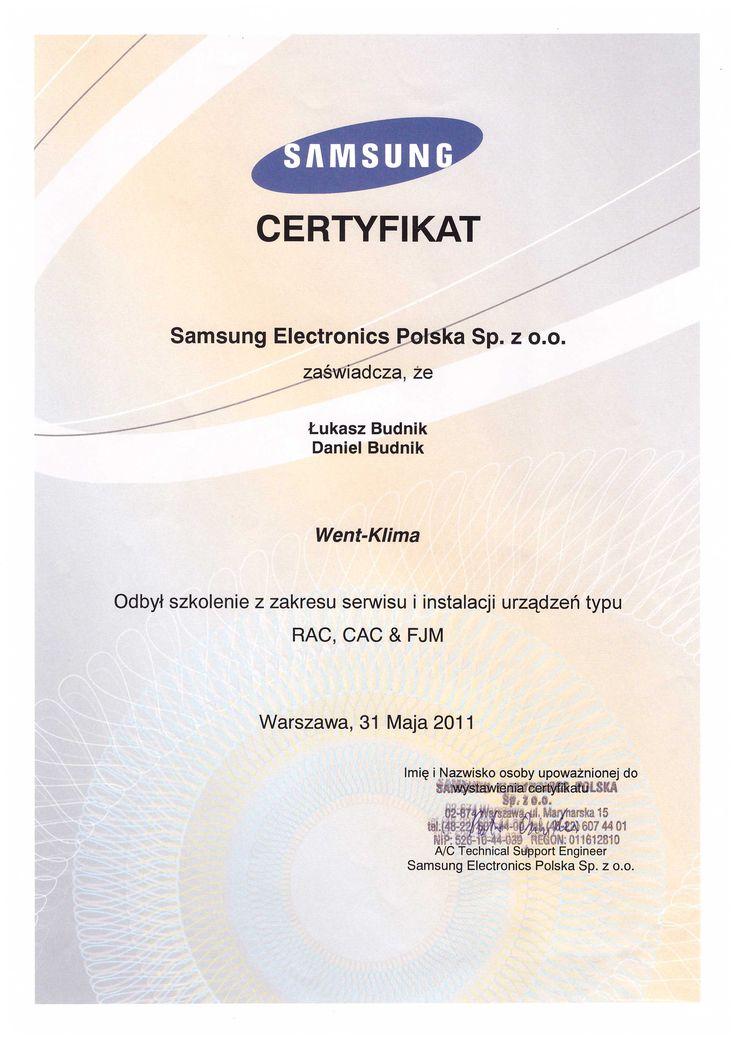 Certyfikat ze szkolenia - firma Samsung