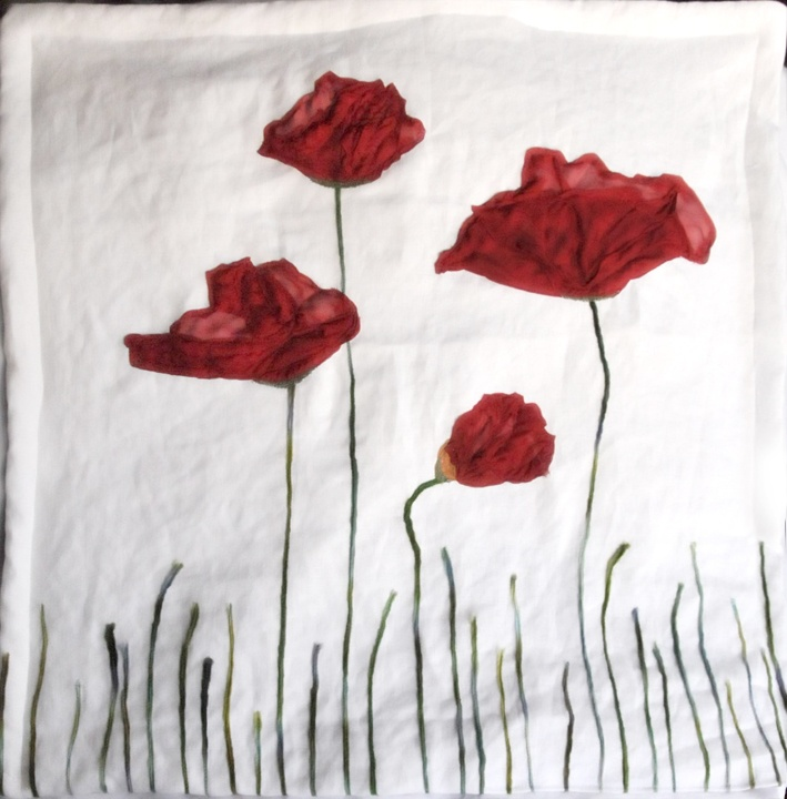 """Big red poppies wall quilt! Just finished this minute. 24"""" x 24"""", silk, linen, wool."""