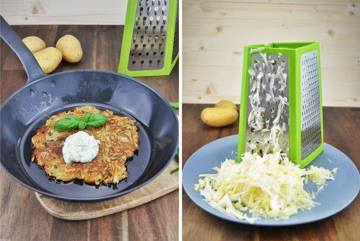 {Brotzeit} Kartoffel-Spargel-Rösti und eine grüne Reibe