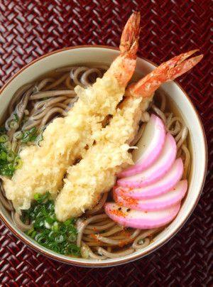 Ebi Tempura Shrimp Soba Noodles with Scallion & Kamaboko.