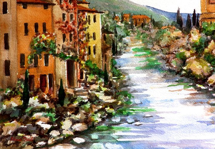 Lagrasse (7) - Phong Trinh Watercolor. More Fine Art Print Available at http://www.artpal.com/phongtrinh/