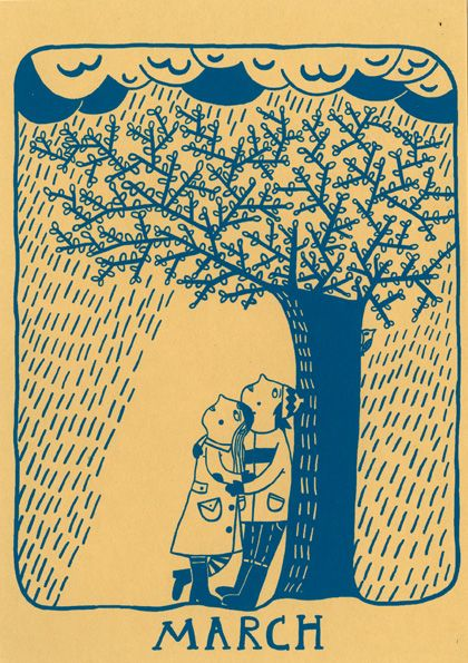 """""""March"""" my birth month.  A print from a perpetual calender printed by hand by Mina Braun"""