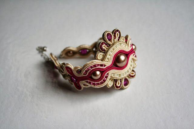 agtesa soutache: Fuchsia wedding set / bridal bracelet