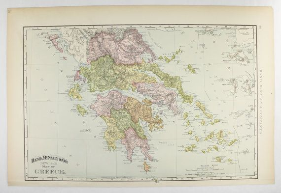Vintage Map of Greece, Cyclades Map, Greek Islands Map 1898 Antique Greece Map, Wedding Gift for Couple, Greece Gift for Family available from OldMapsandPrints.Etsy.com #Greece #Cyclades #AntiqueMapofGreece