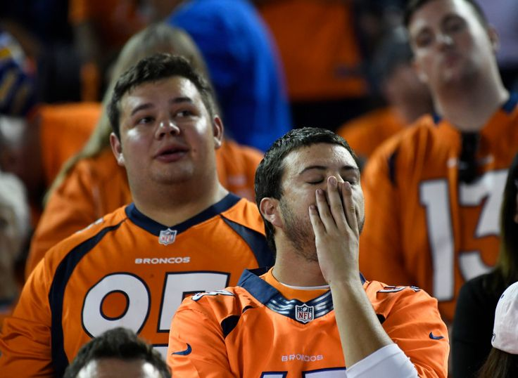 Broncos vs. Chargers:   October 13, 2016  -  21-13, Chargers   -      Denver Broncos fans react after Denver Broncos kicker Brandon McManus (8) missed a field goal int he third quarter against the San Diego Chargers October 13, 2016 at Qualcomm Stadium.
