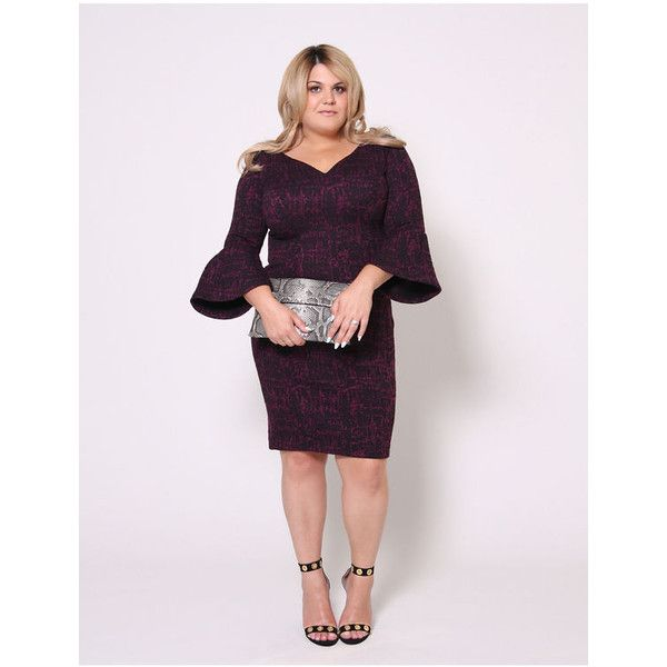 Christian Siriano Plus Size Boucle Bell Sleeve Dress by ($128) ❤ liked on Polyvore featuring dresses, plus size, red, red holiday party dress, plus size going out dresses, plus size bell sleeve dress, open back dresses and red dress