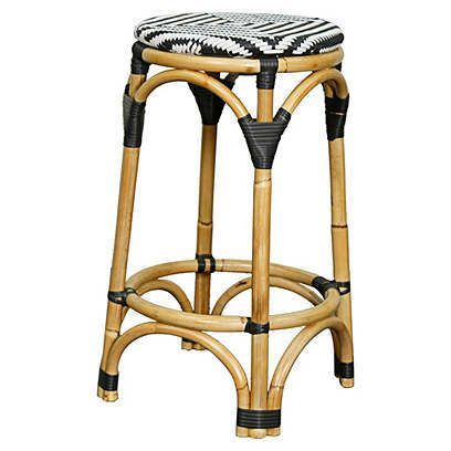 Buy New Pacific Adeline Rattan Backless Bistro Counter Stool   Black/White  From National Furniture Supply At Lowest Price And Great Service.