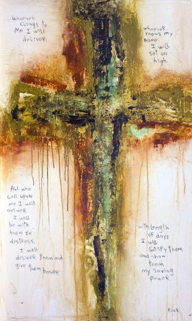 Original Cross Art Scripture Painting Psalm 91:14-16...by Michel Keck