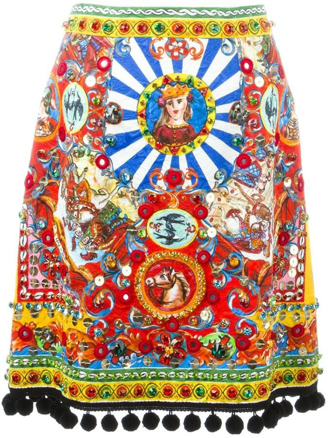 Dolce & Gabbana Multicolor Carretto Siciliano Print Skirt.  Absolutely beautiful!