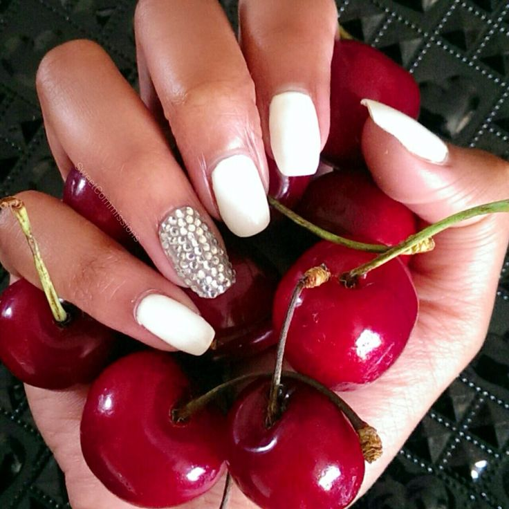 #White #shellac nails #CND with crystals on the ring finger. #cherries #food #summer #fruit #beauty
