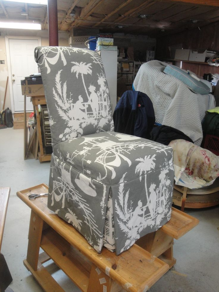 Chair Covers For Dining Chairs Microfiber Reclining And Ottoman Slipcovered This Rolled Back Parson's With A Lovely Linen Chinoiserie Fabric. 2014 | Diy ...