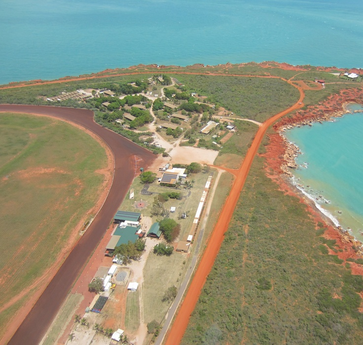 Aerial view of Gantheaume Point Broome.  That's the Broome Turf Club racetrack on the left where the locals dress up in their finery for a spot of horseracing on Ladies Day and Broome Cup.