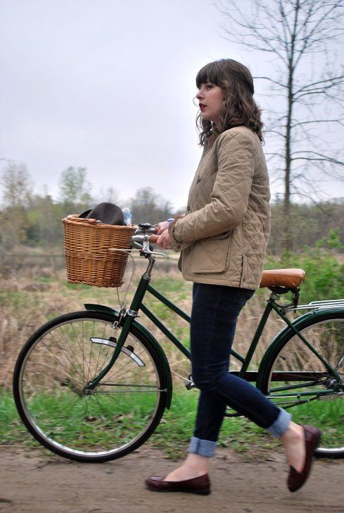 Raleigh Lady Sport/ Peterboro basket/ quilted Barbour/ cuffed jeans/ penny loafers