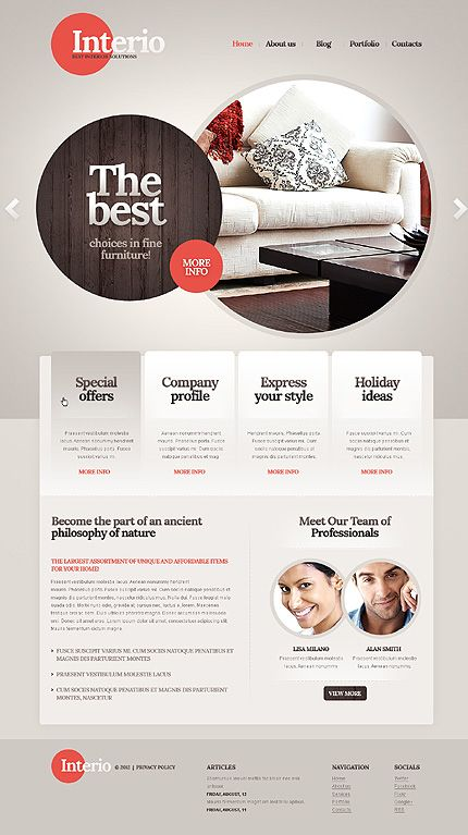 Interior Design WordPress Theme With Beautiful Circle Splash Page Design
