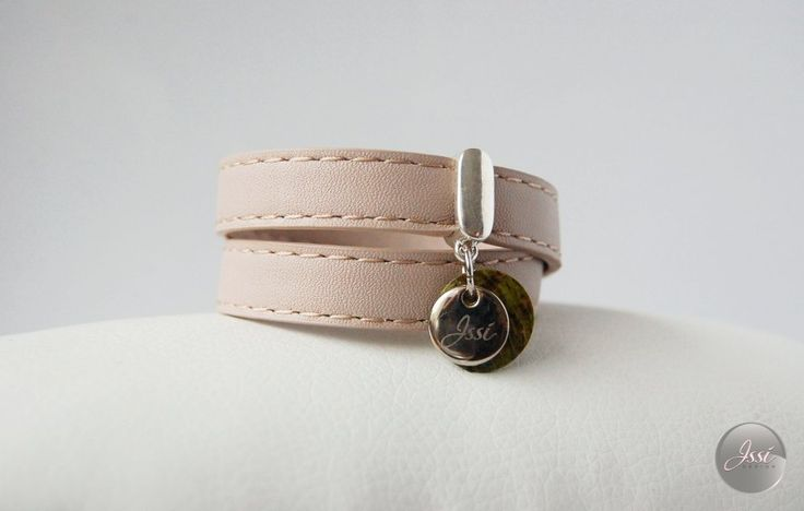 CREAM STITCH BĘDĄ - leather bracelet by Issi
