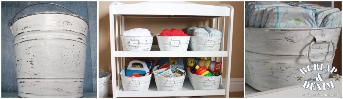 The janitorial supply isle at Home Depot provided great supplies like a bucket turned trash can, a perfect replacement for the nasty Diaper Genie (have you ever emptied one of those?  NASTY!).   Long bins act as storage for my simple changing table.  A messy coat of white paint warms up the sterile galvanized metal finish.  Follow that up with rough sandpaper and these babies are indestructible.