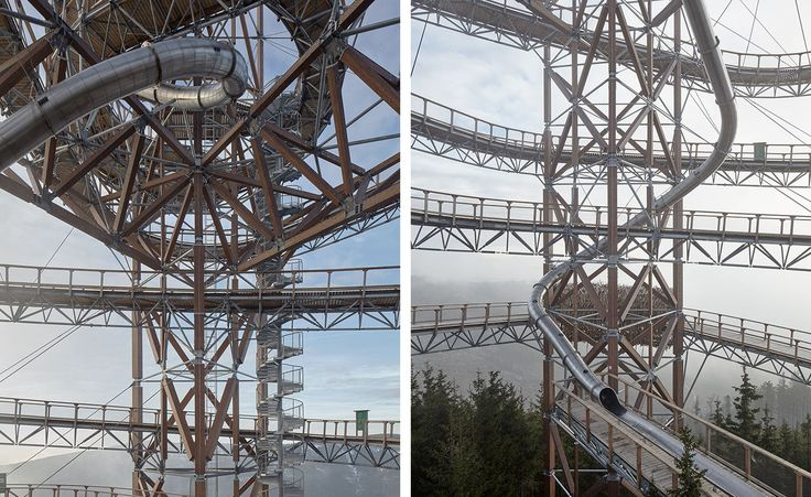 The construction of various viewing structures in the romantic setting of the Czech mountains has been a tradition since the 19th century, when tourism first began to flourish there. A contemporary version of this traditional watch tower – Tower Dol...