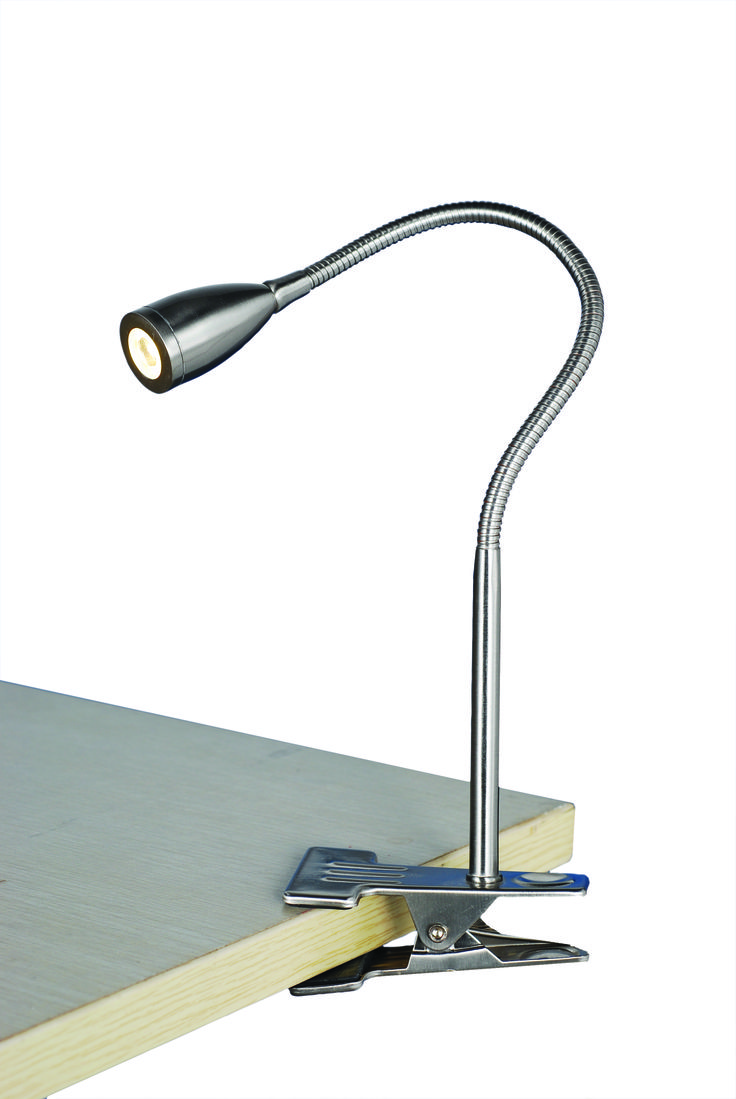 Sassy Clamp Lamp in Brushed Steel