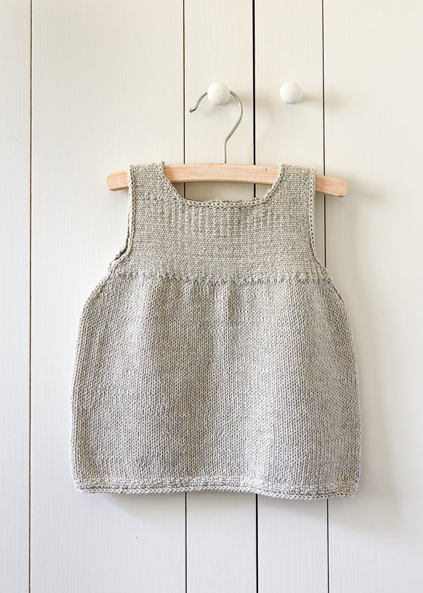 clean-simple-baby-dress Purlsoho US 5, 24-inch circular needles US 5, spare circular needles, any length 24 stitches and 28 rows = 4 inches in stockinette stitch 28 stitches and 40 rows = 4 inches in Linen Stitch Sizes: 0-6 (6-12, 12-18) months