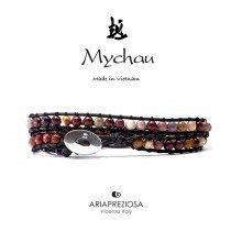 Mychau - Bracciale Vietnam originale realizzato con Mokaite naturale su base bracciale col. Marrone