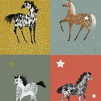 Zestaw 4 pocztówek z końmi, kartki okolicznościowe, zakładki do książek
