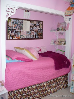 i wonder what this would look like if you made the closet a headboard for aqueen size bed. if you have a small guest room.