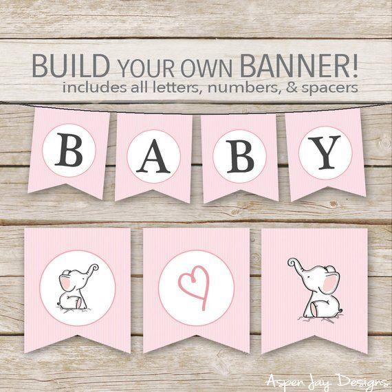 Pink Elephant Banner Printable Download Elephant Baby Shower