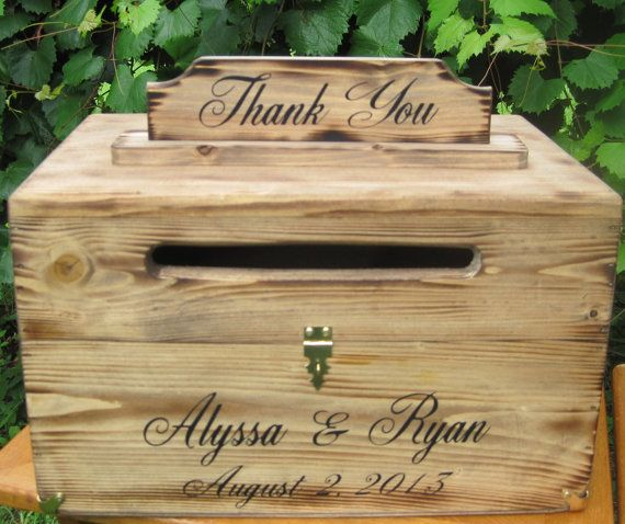 Large Rustic Card Box Keepsake Country Barn Style Wedding card holder. Personalized with Bride and Groom names and date. Comes with removeable Thank You sign