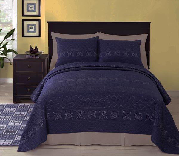 Rosaline Navy Blue Matelasse Quilt Coverlet Set Paired