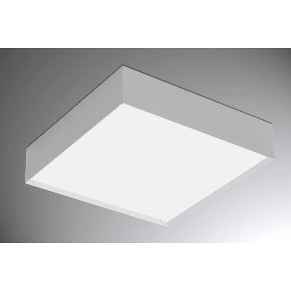 Plafon perfil sobrepor II pequeno, quadrado, luz difusa, para 2 lâmpadas,  Medidas: 21x21x10,2cm,  Material: Alumínio e acrílico,  Cor: Branco Total